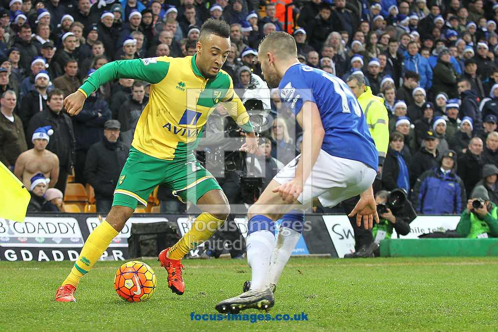 Nathan Redmond of Norwich and Tom Cleverley of Everton in action during the Barclays Premier League match at Carrow Road, Norwich<br /> Picture by Paul Chesterton/Focus Images Ltd +44 7904 640267<br /> 12/12/2015
