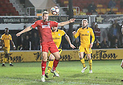 Adam Priestley of Alfreton Town has a chance during the The FA Cup match between Newport County and Alfreton Town at Rodney Parade, Newport, Wales on 15 November 2016. Photo by Andrew Lewis.