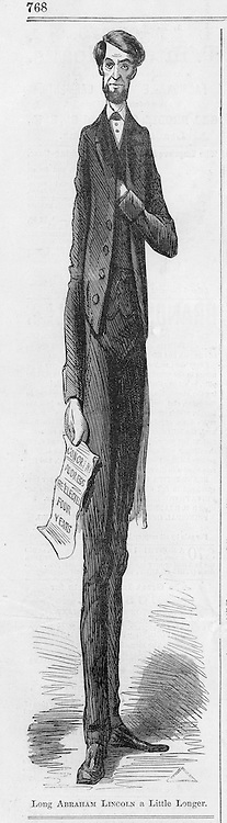 """Civil War, Editorial Cartoon: """"Lincoln a little longer"""" and advertisements  Illustration from Harper's Weekly November 26, 1864  Page 768"""