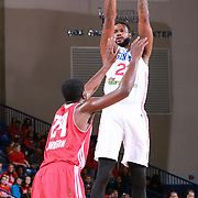 Delaware 87ers Forward EARL CLARK (22) attempts a jumps shot as Maine Red Claws Forward OMARI JOHNSON (24) defends in the first half of a NBA D-league regular season basketball game between the Delaware 87ers and the Maine Red Claws Friday, Feb. 19, 2016 at The Bob Carpenter Sports Convocation Center in Newark, DEL.