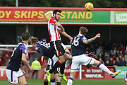 Brian Graham and Glen Rea during the EFL Sky Bet League 2 match between Cheltenham Town and Luton Town at Whaddon Road, Cheltenham, England on 11 November 2017. Photo by Antony Thompson.