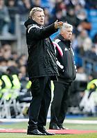 Real Madrid's coach Carlo Ancelotti (r) and Real Sociedad's coach David Moyes during La Liga match.January 31,2015. (ALTERPHOTOS/Acero)