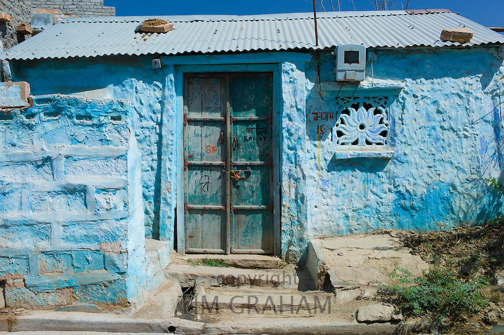 Brahman home painted traditional blue colour in village of Rohet in Rajasthan, Northern India