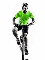 one  man exercising bicycle mountain bike on white background