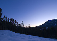 The view from the future site of the Scandinave Spa in Whistler, BC Canada looks west to Sproat and Rainbow Mountains.