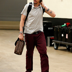 Jun 16, 2013; San Antonio, TX, USA; Miami Heat shooting guard Mike Miller arrives for game five in the 2013 NBA Finals against the San Antonio Spurs at the AT&T Center. Mandatory Credit: Derick E. Hingle-USA TODAY Sports