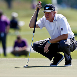Apr 26, 2012; Avondale, LA, USA; Ernie Els lines up a putt on the 9th hole during the first round of the Zurich Classic of New Orleans at TPC Louisiana. Mandatory Credit: Derick E. Hingle-US PRESSWIRE