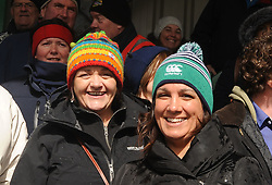 Liz Browne and Liz Brady enjoying the Connacht junior Cup final at the Sportsground in Galway. <br /> Pic Conor McKeown