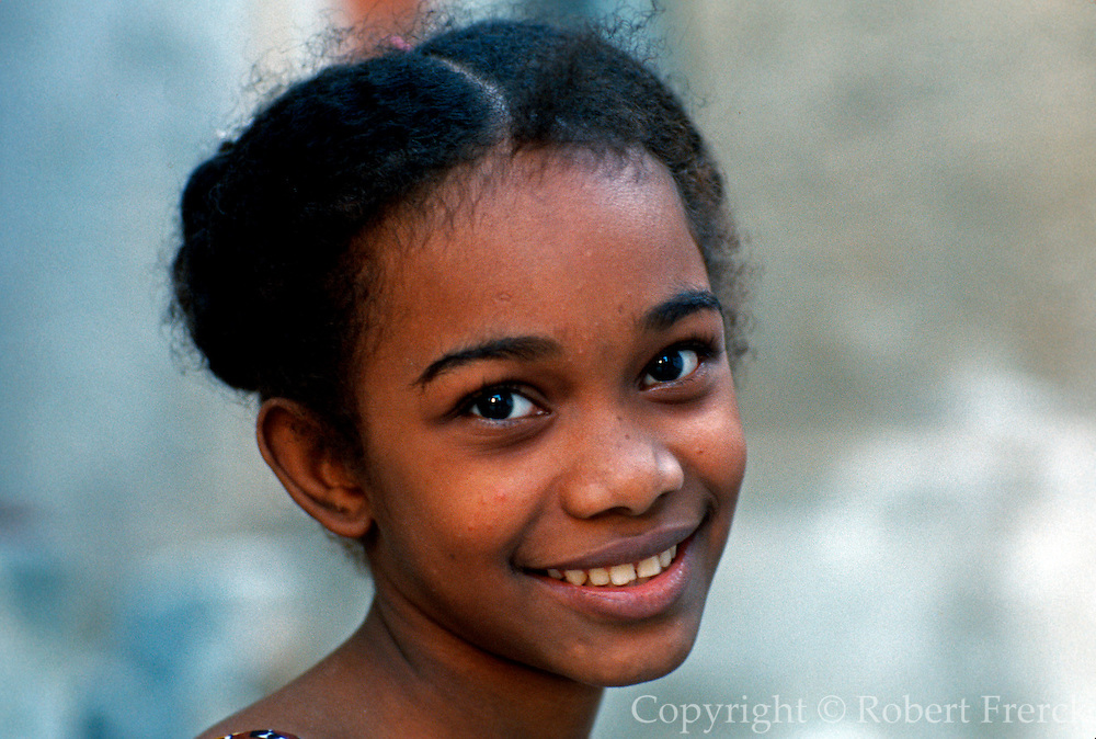 KENYA, LAMU ISLAND young Swahili girl in town on Lamu Island