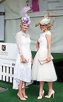 30/07/2015 report free : Winners Announced in Kilkenny Best Dressed Lady, Kilkenny Best Irish Design &amp; Kilkenny Best Hat Competition at Galway Races Ladies Day <br /> From Left at the event were  Lynda Morrison Kildare Dublin and with Annemarie Corbet, Michelstown<br /> Photo:Andrew Downes, xposure