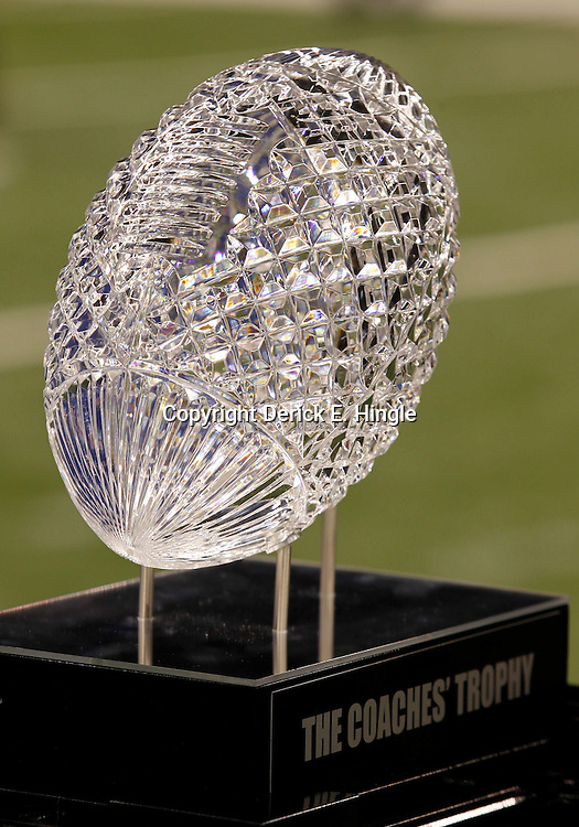 January 6, 2012; New Orleans, LA, USA; A detail of the crystal football that tops the Coaches Trophy during Media Day for the 2012 BCS National Championship game to be played on January 9, 2012 between the LSU Tigers and the Alabama Crimson Tide at the Mercedes-Benz Superdome.  Mandatory Credit: Derick E. Hingle-US PRESSWIRE