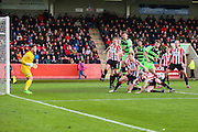 Early Forest Green pressure during the Vanarama National League match between Cheltenham Town and Forest Green Rovers at Whaddon Road, Cheltenham, England on 21 November 2015. Photo by Shane Healey.
