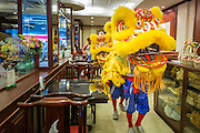 31 JANUARY 2014 - BANGKOK, THAILAND:   A Chinese Lion dancer performs in a restaurant on Yaowarat Road during Lunar New Year festivities, also know as Tet and Chinese New Year, in Bangkok. This year is the Year of the Horse. The Lion Dance scares away evil spirits and brings prosperity and luck. Ethnic Chinese make up about 14% of Thailand and Chinese holidays are widely celebrated in Thailand.     PHOTO BY JACK KURTZ