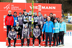 Spela Rogelj of Slovenia celebaters thrid place with teammates and organizing committee after Women Normal Hill Individual Competition at Day 3 of Viessmann FIS Ski Jumping World Cup Ljubno 2020, on February 23th, 2020 in Ljubno ob Savinji, Slovenia. Photo by Morgan Kristan / Sportida