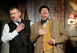 Lady Killers.<br /> John Gordon Sinclair (Professor Marcus) and Simon Day (Major Courtney) on stage in the Lady Killlers Vaudeville Theatre<br /> London, United Kingdom<br /> Monday, 8th July 2013<br /> Picture by Mike  Webster / i-Images