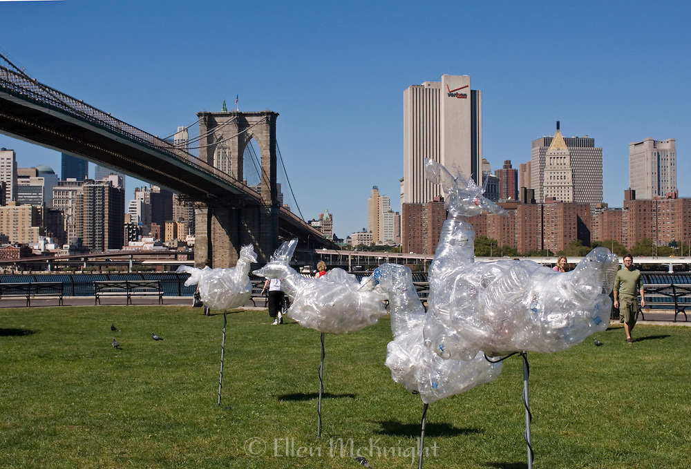 """Chicken Invasion"" Art Installation Made of Recyclable Plastic Materials in Brooklyn Bridge Park by Artist Alfonso Munoz"
