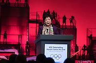 Tokyo Governor Yuriko Koike delivers a speech during the opening plenary session of the International Olympic Committee (IOC) Debriefing of the Rio de Janeiro Olympic Games in Tokyo on November 28, 2016. The IOC holds the three-day meeting in Tokyo where it will host the next Olympic and Paralympic games in 2020. Japan 28/11/2016-Tokyo, JAPAN
