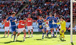 Ian Henderson of Rochdale fires a close range shot at goal - Mandatory byline: Matt McNulty/JMP - 07966386802 - 15/08/2015 - FOOTBALL - Bloomfield Road -Blackpool,England - Blackpool v Rochdale AFC - Sky Bet League One