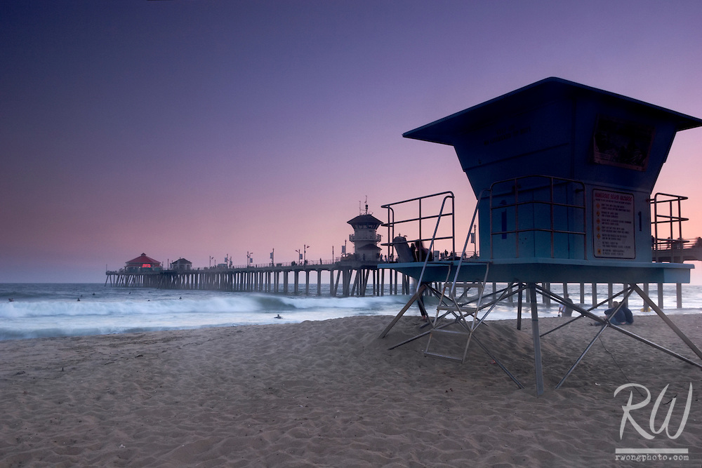 Lifeguard Station and Huntington Beach Pier at Twilight, California