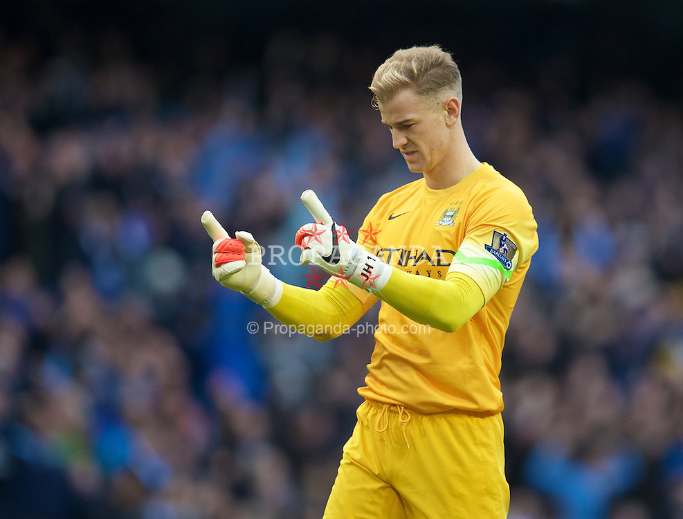 MANCHESTER, ENGLAND - Sunday, November 2, 2014: Manchester City's goalkeeper Joe Hart celebrates his side's first goal against Manchester United during the Premier League match at the City of Manchester Stadium. (Pic by David Rawcliffe/Propaganda)
