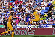 Reading defender Tennai Watson (30) out jumps Preston North End forward Jordan Hugill (25) during the EFL Sky Bet Championship match between Reading and Preston North End at the Madejski Stadium, Reading, England on 6 August 2016. Photo by Jon Bromley.