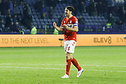 Middlesbrough defender George Friend (3) celebrates at full time during the EFL Sky Bet Championship match between Sheffield Wednesday and Middlesbrough at Hillsborough, Sheffield, England on 19 October 2018.