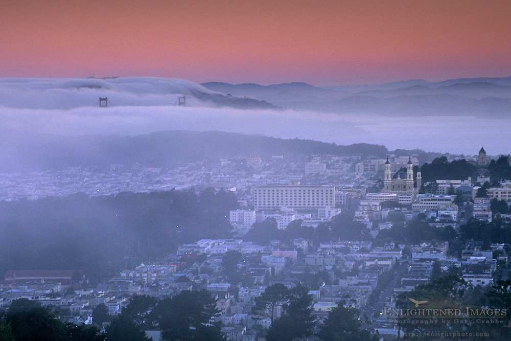 Fog over the Golden Gate at dawn from Twin Peaks, San Francisco, California