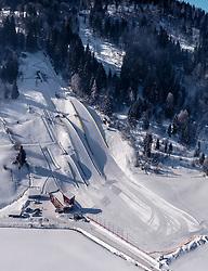 THEMENBILD, die Felix Gottwald Sprunganlage mit seinen Skisprungschanzen, aufgenommen in Saalfelden, Oesterreich am 11. Feber 2015 // the Felix Gottwald jumping facility with the skijumping hills, Saalfelden, Austria on 2015/02/11. EXPA Pictures © 2015, PhotoCredit: EXPA/ JFK