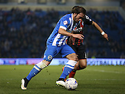 Inigo Calderon, Brighton defender during the Sky Bet Championship match between Brighton and Hove Albion and Bournemouth at the American Express Community Stadium, Brighton and Hove, England on 10 April 2015.