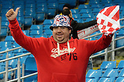 Sevilla fan during the Champions League Group D match between Manchester City and Sevilla at the Etihad Stadium, Manchester, England on 21 October 2015. Photo by Alan Franklin.