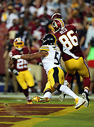 Pittsburgh Steelers inside linebacker Ryan Shazier (50) breaks up an end zone pass intended for Washington Redskins tight end Jordan Reed (86) in the first quarter during the 2016 NFL week 1 regular season football game against the Washington Redskins on Monday, Sept. 12, 2016 in Landover, Md. The Steelers won the game 38-16. (©Paul Anthony Spinelli)