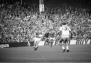 The All Ireland Senior Football Final.1982.19.09.1982.09.19.1982.19th September 1982..The senior final was contested between Offaly and Kerry. Offaly won the title by the narrowest of margins 1.15 to 17 points. .A Kerry forward drives towards the Offaly goal