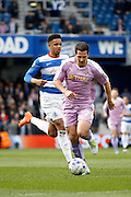 Reading striker Yann Kermorgant (29) breaks through on goal during the Sky Bet Championship match between Queens Park Rangers and Reading at the Loftus Road Stadium, London, England on 23 April 2016. Photo by Andy Walter.