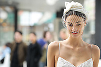 A model walks the runway wearing Lela Rose Bridal Spring 2018