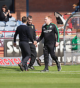 27th August 2017, Dens Park, Dundee, Dundee; Scottish Premier League football, Dundee versus Hibernian; Hibernian bos Neil Lennon shakes hands with Dundee manager Neil McCann at the end