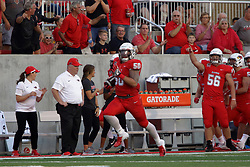NORMAL, IL - September 01: Ty Deforest rushes the ball back towards the Redbirds goal line after intercepting a pass during a college football game between the ISU (Illinois State University) Redbirds and the Saint Xavier Cougars on September 01 2018 at Hancock Stadium in Normal, IL. (Photo by Alan Look)