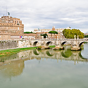 The historic Castel Sant'Angelo, historically a jail, in Rome, Italy, with the Tiber River in the foreground.