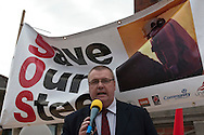 Roy Rickhuss, Community National Officer, speaking at Corus Save Our Steel March Redcar..© Martin Jenkinson, tel 0114 258 6808 mobile 07831 189363 email martin@pressphotos.co.uk. Copyright Designs & Patents Act 1988, moral rights asserted credit required. No part of this photo to be stored, reproduced, manipulated or transmitted to third parties by any means without prior written permission