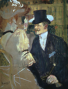 The Englishman (William Warrener) at the Moulin Rouge'  1892:  by Henri de Toulouse- Lautrec (1864-1901) French painter, draftsman and illustrator.  Oil on cardboard.