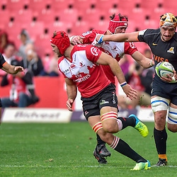 Johannesburg, SOUTH AFRICA, 21, MAY 2016 - during the Super Rugby match between Emirates Lions vs Jaguares ,Emirates Airlines Park,Johannesburg. Warren Whiteley of the Emirates Lions and Tomás Lavanini of the Jaguares. <br /> <br /> South Africa. (Photographer Christiaan Kotze ) -- (Steve Haag Sports) <br /> <br /> Images for social media must have consent from Steve Haag