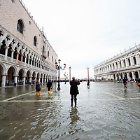 Today saw the first high tide of the season in Venice with water reading  the level at sea f 110 centimetres above sea level