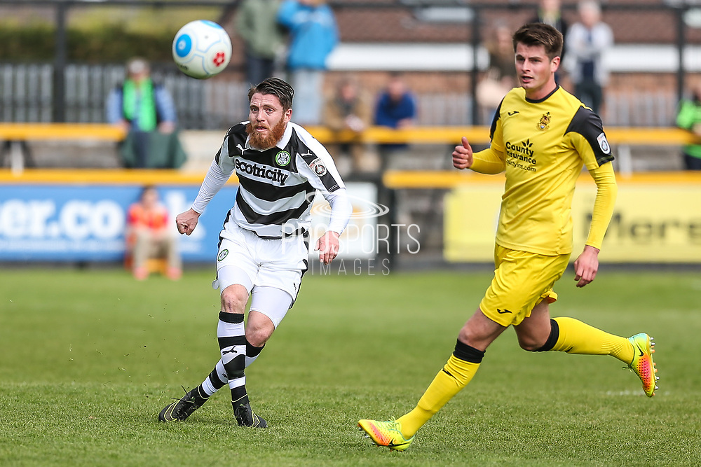 Forest Green Rovers Sam Wedgbury(8) passes the ball forward  during the Vanarama National League match between Southport and Forest Green Rovers at the Merseyrail Community Stadium, Southport, United Kingdom on 17 April 2017. Photo by Shane Healey.