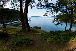 Camp site at Jones Island State Park, San Juan Islands, Washington, US
