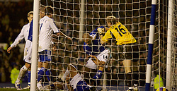 Liverpool, England - Wednesday, December 5, 2007: Everton's match-winner Tim Cahill is floored as Zenit St. Petersburg's goalkeeper Vyacheslav Malafeev pushes James Vaughan during the UEFA Cup Group A match at Goodison Park. (Photo by David Rawcliffe/Propaganda)