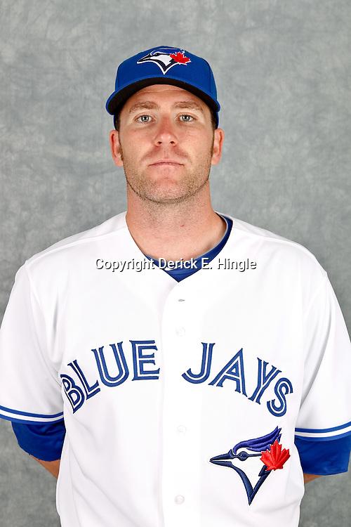 March 2, 2012; Dunedin, FL, USA; Toronto Blue Jays relief pitcher Casey Janssen (44) poses for a portrait during photo day at Florida Auto Exchange Stadium.  Mandatory Credit: Derick E. Hingle-US PRESSWIRE