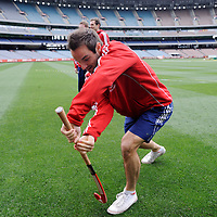 MELBOURNE - Champions Trophy men 2012<br /> England on a tour of the MCG<br /> Foto: Nick Catlin batting with his Adidas stick<br /> FFU PRESS AGENCY COPYRIGHT FRANK UIJLENBROEK