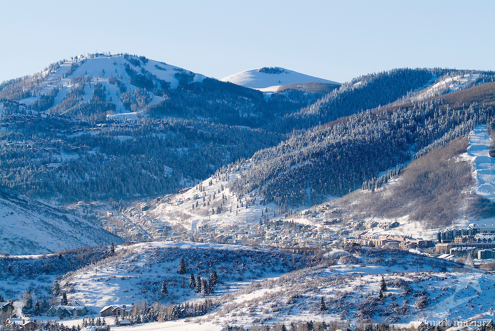 winter morning after fresh snowfall in Park City, Utah