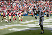 Los Angeles Chargers tight end Antonio Gates (85) catches a 5 yard touchdown pass that cuts the San Francisco 49ers first quarter lead to 14-6 during the NFL week 4 regular season football game against the San Francisco 49ers on Sunday, Sept. 30, 2018 in Carson, Calif. The Chargers won the game 29-27. (©Paul Anthony Spinelli)