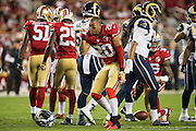 San Francisco 49ers cornerback Marcus Cromartie (20) celebrates after a carry against the Los Angeles Rams at Levi's Stadium in Santa Clara, Calif., on September 12, 2016. (Stan Olszewski/Special to S.F. Examiner)