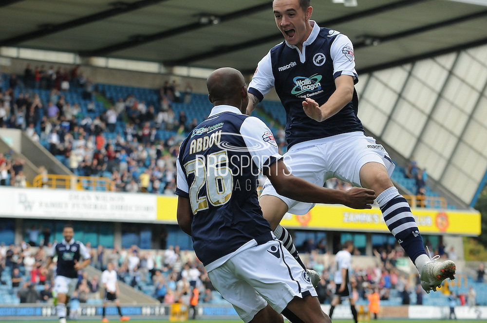 Jimmy Abdou and Shaun Williams celebrate taking the lead during the Sky Bet League 1 match between Millwall and Rochdale at The Den, London, England on 26 September 2015. Photo by Michael Hulf.